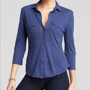 James Perse Blue Contrast Panel Button Shirt
